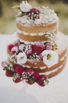 Bohemian Countryside Wedding Ideas Naked Sponge Cake Fruit Flowers http://www.frankee-victoria.co.uk/