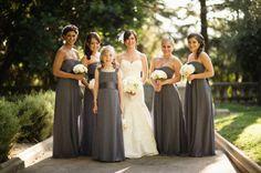 Dark Grey Bridesmaids Dresses---Photography by kevinwynn.com, Wedding Planning by hustleandbustleevents.com, Floral Design by commerceflowers.com