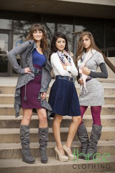 fall fashion 2013, boots, tights, scarves, cardigan, sweater dress  www.threeclothing.com