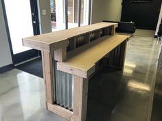 The Nebraska - 2 level corrugated metal and birch Reception Desk - Stan Clarry - Kitchen Bars Outdoor Patio Bar, Outdoor Kitchen Bars, Outdoor Decor, Outdoor Kitchens, Outdoor Grilling, Outdoor Life, Outdoor Ideas, Outdoor Spaces, Basement Bar Designs