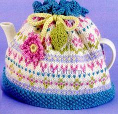 PDF knitting Pattern for a Pretty Fair Isle Aran Tea Cosy Cozie. £2.50, via Etsy.