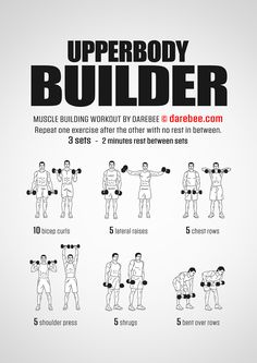 Upperbody Builder Workout – Fitness&Health&Gym For Women Fitness Workouts, Gym Workout Tips, Weight Training Workouts, Workout Plans, Rugby Workout, Arm Workout Men, Spartan Workout, Men Exercise, Workout Women