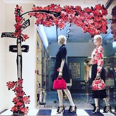 """KATE SPADE, New York, """"Hey Babe' Valentine's Day Window"""", (Features paper decoupage from the fashion retailer's latest rose print collection), photo by Retail Focus, pinned by Ton van der Veer"""