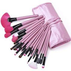 24PCS Makeup Brushes Cosmetic Eyebrow Lip Eyeshadow Brushes Set with Case - USD $ 16.99