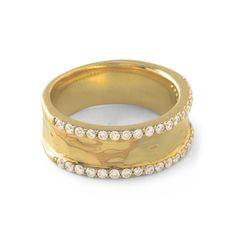 Ippolita Glamazon® 18K Gold Stardust Double Pavé Row Wide Band Ring-Diamond