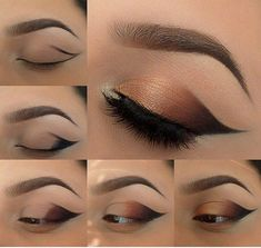 #Winged #Bronze #SmokeyEye - step1:apply primer to the lid;step2:apply black eyeshadow at the outter corner of the eye by making a wing and filling it;step3:apply dark orange eyeshadow by blending it in with black;step4:continue with a lighter shade of orange and fill the lid all the way to inner corner;step5:apply a lot of mascara or put on fake eyelashes.
