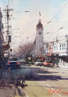 Art market auction sales from the to 2020 for 217 works by artist Joseph Zbukvic and values for over other Australian and New Zealand artists. Watercolor City, Watercolor Sketch, Watercolor Landscape, Watercolor Illustration, Watercolor Painting Techniques, Watercolor Artists, Watercolor Paintings, Watercolours, Landscape Drawings