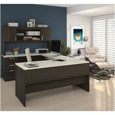 U-Shaped Desk with Bookcase and File - 14517 and more Lifetime Guarantee