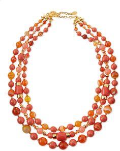 Jose & Maria Barrera Triple-Strand Beaded Necklace, Coral