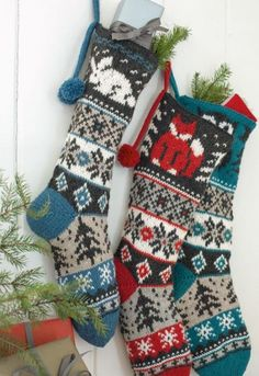 Christmas stocking pattern containing 3 different animal diagrams: Rabbit, Owl and Fox. Christmas stocking pattern containing 3 different animal diagrams: Rabbit, Owl and Fox.