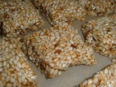 Sesame Seed/Honey Bars aka calcium bites (tried the recipe and don't need all the honey. Try a or ratio next time rather than sesame to honey) Sweet Recipes, Real Food Recipes, Snack Recipes, Cooking Recipes, Yummy Food, Dessert Recipes, Dessert Ideas, Desserts, Healthy Bars