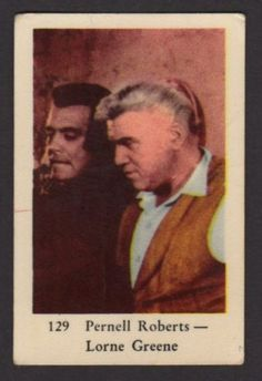 1961 SWEDISH NUMBERED SET 3 GUM CARD #129 PERNELL ROBERTS - LORNE GREENE BONANZA