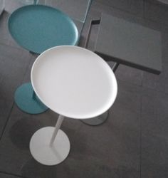Antonio Lupi minimal modern bathroom interior design table for accessories. Photo taken at Paradosso7 showroom.