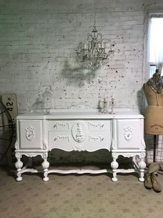 Items similar to Painted Cottage Chic Shabby French Provincial Buffet / Sideboard / Server on Etsy