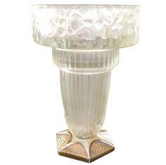 1stdibs | Wonderful+French+Art+Deco+Leleu+glass+vase+on+metal+base.