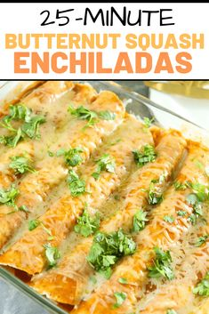 Takes 25 minutes start to finish for these awesome vegetarian enchiladas! Takes 25 minutes start to finish for these awesome vegetarian enchiladas! Vegetarian Enchiladas, Vegetarian Dinners, Vegetarian Recipes, Cooking Recipes, Healthy Recipes, Enchiladas Healthy, Bean Enchiladas, Butternut Squash Enchiladas, Chicken And Butternut Squash