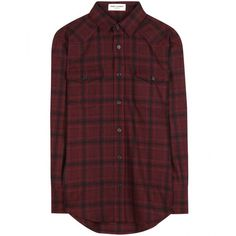 Saint Laurent Plaid Wool Shirt ($635) ❤ liked on Polyvore featuring tops, blouses, shirts, flannels, red, red blouse, burgundy blouse, tartan plaid shirt, burgundy shirt and shirt blouse
