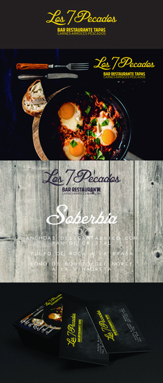 LOS 7 PECADOS restaurante Diseño de logotipo y tarjetas de visita. Triloby estudio de diseño
