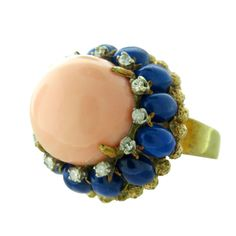 1960s Gold Coral Lapis Cocktail Ring | From a unique collection of vintage more rings at http://www.1stdibs.com/jewelry/rings/more-rings/