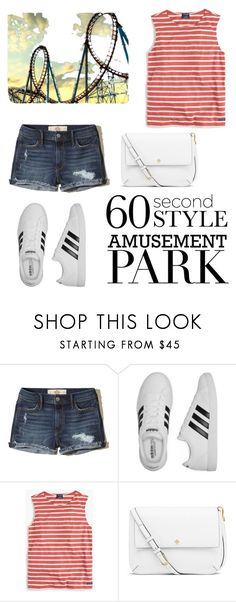 """60 Second Style: Amusement Park"" by blckismyhappycolor ❤ liked on Polyvore featuring Hollister Co., adidas, Saint James, Tory Burch, amusementpark and 60secondstyle"