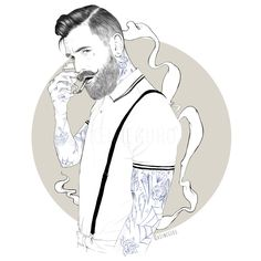 Bearded illustration. Very cool. Ink & Pen