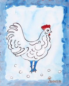 """""""Blue Chicken"""" an Original Painting by Chef & Artist Jacques Pépin"""
