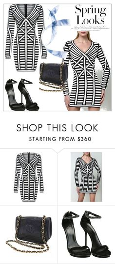 """Legerbabe  Stella Striped Lacing Detail Dress"" by qingbabe ❤ liked on Polyvore featuring Chanel, Gucci and H&M"