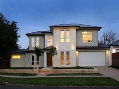 Concrete modern house exterior with brick fence & feature lighting - House Facade photo 1433785