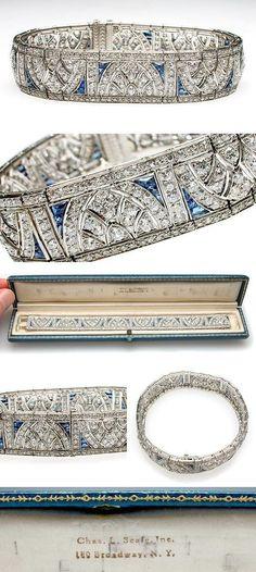 Art Deco Antique Platinum, Diamond & Blue Sapphire Cuff Bracelet, circa 1920 I love vintage and anything with sapphires!!!!: #antiquebracelets #sapphirebracelet