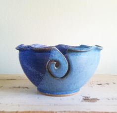 Yarn bowl In Stock Knitting bowl soft blues seen by redhotpottery, $36.00