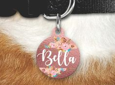 Floral Pet Tag, Girly Pet Tag, Double Sided Pet Tag, Double sided Pet tag, Pet ID, Personalized Dog Tag, Pink Dog Tag, Dog Tag for Collar by MysticCustomDesignCo on Etsy