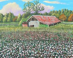 Carolina Cotton Fields (original painting) by Goohsnest on Etsy. This is a 16 by 20 inch acrylic painting of a cotton field near my home in rural SC.