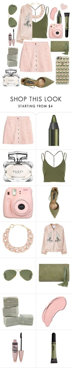 """""""Untitled #25"""" by asdfghjkl000 on Polyvore featuring Gucci, River Island, Fujifilm, Steve Madden, DIANA BROUSSARD, MANGO, Ray-Ban, LULUS, NYX and Maybelline"""