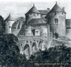 how to draw castle - Corroy Le Chateau