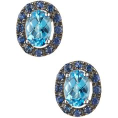 Effy 14K White Gold Topaz & Sapphire Stud Earrings ($400) ❤ liked on Polyvore featuring jewelry, earrings, blue, stud earrings, 14k white gold earrings, 14k earrings, blue topaz earrings and white gold stud earrings