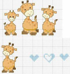 Girafinhas alt 30 Cross Stitch Baby, Cross Stitch Animals, Cross Stitch Charts, Cross Stitch Patterns, Cross Stitching, Cross Stitch Embroidery, Pixel Crochet Blanket, Crochet Cross, Plastic Canvas Patterns