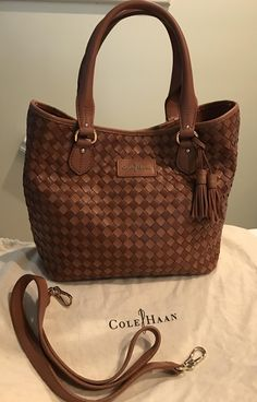 Cole Haan Genevieve Woven Leather Nora Weave Tote Crossbody Saddle Brown / Cognac Satchel. Save 46% on the Cole Haan Genevieve Woven Leather Nora Weave Tote Crossbody Saddle Brown / Cognac Satchel! This satchel is a top 10 member favorite on Tradesy. See how much you can save GORGEOUS!!! BEAUTIFUL WOVEN LEATHER WEAVE BAG IN A STUNNING SADDLE BROWN COLOR!!! VERY RARE!!! SALE!!! WOW!!!