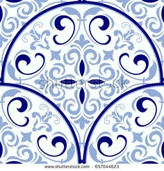Vintage seamless pattern in Portugal style. Azulejo.Seamless patchwork tile in blue and white colors. Endless pattern can be used for ceramic tile, wallpaper, linoleum, textile, web page background
