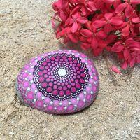 Shades of Pink Dot Painted Stone, Original Hand Painted Rock Art, Mandala Design