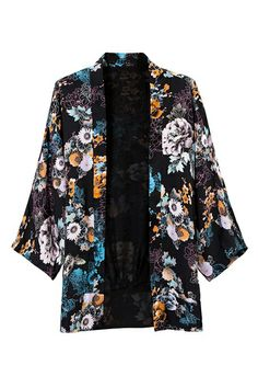 ROMWE | ROMWE Floral Print Buttonless Cropped Sleeves Black Kimono, The Latest Street Fashion