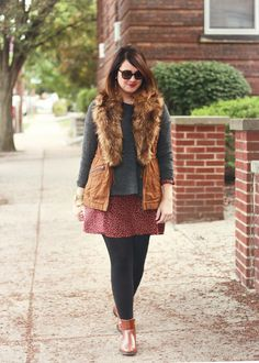 26 and Counting, Fall Layers, Fall Style, Fur Vest, Madewell, layers, anthropologie