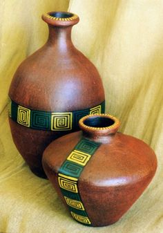 imagenes de jarrones                                                                                                                                                      Más Gourds, Clay Art, African Art, Still Life, Abstract Art, Arts And Crafts, Porcelain, Home Decor, Pepsi