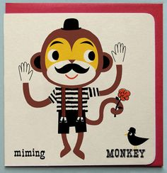 Miming Monkey Greeting card £2.50 by Ketchup on Everything