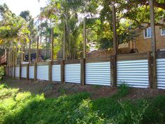 Corrugated iron retaining wall idea