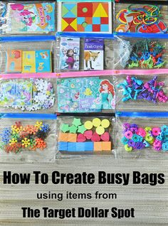 How To Create Busy Bags using items from The Target Dollar Spot Lexie Loo, Lily, Liam and Dylan Too!: How To Create Busy Bags using items from The Target Dollar Spot Quiet Time Activities, Toddler Learning Activities, Infant Activities, Preschool Activities, Activities For 4 Year Olds, Toddler Airplane Activities, Kids Travel Activities, Road Trip Activities, Road Trip Games