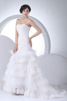 Fully appliqued bodice dropped waist elegant #Wedding#Dress