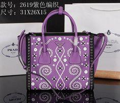 32042e9262 Newest Prada Original Leather Women Handbag 2619 Purple Prada Clutch