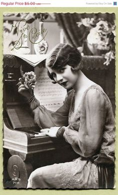 Original French vintage real photo postcard - Flapper art deco lady sitting at the piano - Victorian Paper Ephemera. @Deidra Brocké Wallace