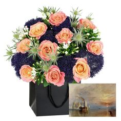 £40.00 - Turner Bouquet. Inspired by #Turner's The Fighting Temeraire. Reminiscent of the stunning sunset in Turner's Fighting Temeraire, this striking #bouquet includes beautiful Miss Piggy Roses, with orange fading to dusky pink outer petals. Contrasted with the subtle blue Eryngium and deep purple Trachelium. The white Bouvardia softens this bouquet like the mists and the ghostly Temeraire in the painting. #MothersDay #Flowers