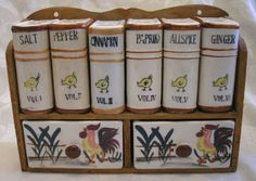 Fred Roberts chicken rooster Vintage ceramic spice shakers rack shelf drawers